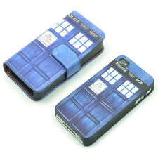 Dr WHO Tardis British SciFi Wallet Leather Case + Hard Cover For iPhone 4 4S