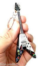 "Jimi Hendrix Fly V Psychedelic 4"" Miniature Guitar Fridge Magnet Keychain"