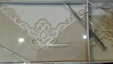 Wedding, Bridal, Burlap & Lace Guestbook & pen by Lillian Rose, GB882
