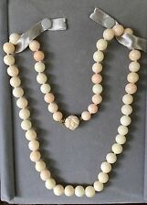 """ESTATE 23"""" Natural Angel Skin Coral Classic Hand Carved 14k Yellow Gold Necklace"""