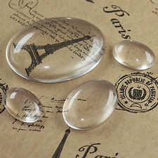 13mm x 18mm Glass Cabochons x 20pcs Clear Transparent Oval Tiles Domes Cameo