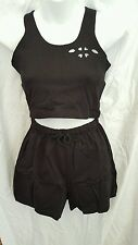 ALIX PAIGE BLACK   WOMENS SPORT TANK TOP WITH /SHORTS  SIZE LARGE