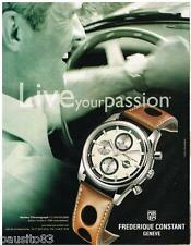 PUBLICITE ADVERTISING 095  2007  FREDERIQUE CONSTANT montre HEALEY CHRONOGRAPH