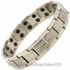 NEW Mens TITANIUM Magnetic Bracelet Chrome 32 Magnets NdFeB Neodymium Therapy