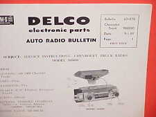 1960 CHEVROLET TRUCK UNITED MOTORS DELCO GM RADIO SERVICE MANUAL CHEVY PICKUP 60