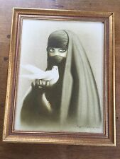 Signed Middle Eastern Islamic Muslim Painting on Canvas Lady in Burka with Dove