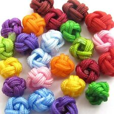 60Pcs Multi-Color Hand Knitted Silk Cord Beads Finding--Jewelry Beads