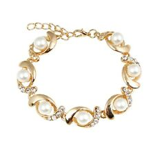 New Fashion Women Gold Silver Plated Jewelry Pearl Crystal Bangle Charm Bracelet