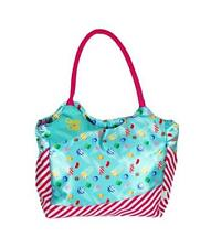 Candy Crush Blue w Pink Diagonal Stripes Shoulder Tote  Bag Carryall
