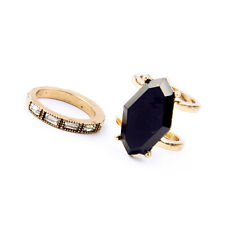 2PCS/Set Rhinestone Black Rings Vintage Gold Baguette Stackable Duo Jet Jewelry