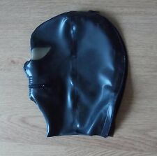 Latex Rubber Fitted Hood BLK Rear zip - ZIP Mouth Clear Eyes & Nose Holes S-XL