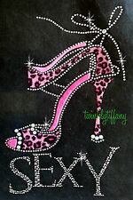 "Hotfix Rhinestone Iron on Transfer  ""Sexy High Heel Pink  leopard with Sexy"""