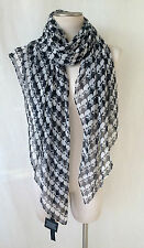 "THOMAS WYLDE Black White Skeleton Print Chiffon Scarf Wrap Shawl. 71.0"" X 42.0"""