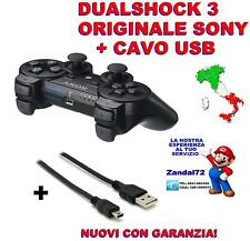 CONTROLLER SIXAXIS DUALSHOCK 3 SONY ORIGINALE WIRELESS +CAVO USB PS3 NERO JOYPAD