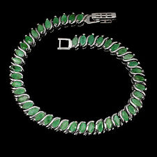 Sterling Silver 925 Genuine Natural Marquise Faceted Emerald Bracelet 7 Inch #2