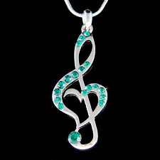 w Swarovski Crystal Emerald Green TREBLE CLEF MUSIC MUSICAL NOTE Heart  Necklace