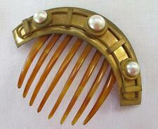 ANTIQUE VICTORIAN ETRUSCAN REVIVAL GILT ORMOLU HINGED HORN HAIR COMB c1860
