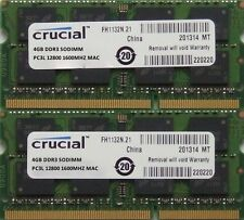 Memoria RAM 8GB KIT DDR3 PC3-12800, 1600MHz, per 2011/2012 Apple Mac Mini's