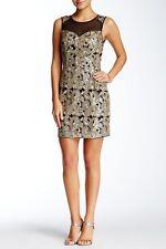 NWT Soieblu Black and Gold Mesh Back & Front Embellished Dress L $72