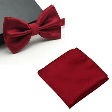 Men Fashion Checks Plaids Bowtie Bow Tie Handkerchief Pocket Square Hanky Set