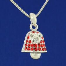 "W Swarovski Crystal Christmas Bell Red Pendant 18"" Chain Necklace Jewelry Gift"