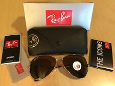 Authentic RAY BAN AVIATOR 3025 GOLD FRAME BROWN POLARIZED RB 3025 001/57 62MM