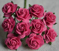 50  DEEP PINK ROSE (1.5cm) Mulberry Paper for weddings crafts cardmaking