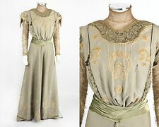 VTG c1905 EDWARDIAN SAGE GREEN WOOL ARTS & CRAFTS APPLIQUE DRESS GOWN