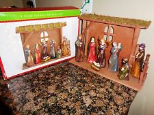 North Pole Trading Co. 9 Piece Ceramic Classic Nativity Set 11 In Overall Height