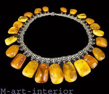 beautiful Bernstein Silber Collier Baltic Butterscotch Amber Necklace • 96,39 g
