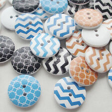 Cute 50pcs Line Wood Buttons 20mm Sewing Craft Mix Lots