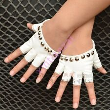 Motorcycle Ladies Rivets Studded Punk Fingerless Dancing Jazz Gloves PU Leather