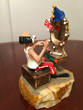 Signed RON LEE CIRCUS CLOWN w/ Mirror & Make-Up 24K GOLD PLATED FIGURINE w/ Tag