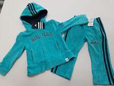 NEW Girls Size 5  Adidas Aqua Blue  Velour Track Suit / Jogging Suit Set