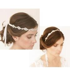 White Satin Ribbon Crystal Beaded Headband Hairband Headpiece Wedding Bridal