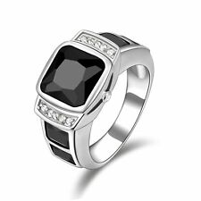 Gorgeous Size 10 Halo Black Sapphire 18K White Gold Filled Men's Engagement Ring