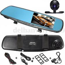 "4.3"" 1080P HD In-Car Rear View Mirror DVR Recorder Dual-lens Dash Camera Monitor"