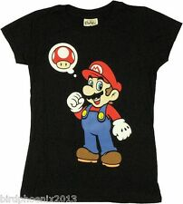 Super Mario T-shirt Mushroom Thought Girl Graphic Tee Junior Size L