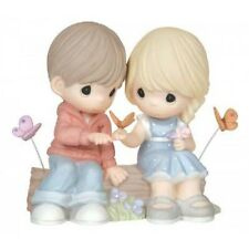 $ New PRECIOUS MOMENTS Figurine BOY GIRL LOVE COUPLE Porcelain Statue BUTTERFLY