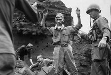 B&W Photo Japanese Surrendering Iwo Jima 1945 WWII WW2