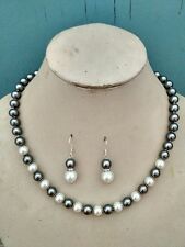 "8mm White/Grey Shell Pearl Necklace +Earring Set  18"" AAA K22"