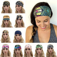 Women Wide Elastic Yoga Gym Sports Headband Hair Band Head wrap Boho Turban DSUK