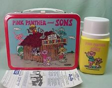 Vintage 1984 NM Metal Pink Panther and Sons lunch box and thermos