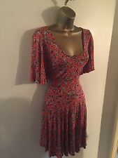 Next Burnt Orange Floral Tea Style Dress Size 10