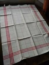 Vintage UNUSED French linen tea towel / drying cloth Red & cream check