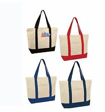 "22"" LARGE Deluxe Zippered Cotton Canvas Reusable Grocery Shopping Tote Totes Bag"