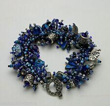 """Bracelet Bead Kit """"Elephant Walk"""" Blue glass beads & pewter charms Fringe Magic"""