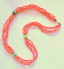 """KENNETH JAY LANE 36"""" SALMON PINK FAUX CORALJADE NECKLACE BEADS 78 GRAMS"""