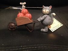 BLOSSOM BUCKET CAT AND MOUSE WITH PUMPKIN CART FALL FIGURINE HALLOWEEN- NEW