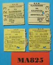 South Africa Halves Railway Tickets x 4 Dated 1960's Ref MA825